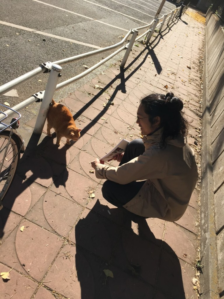上野公園の猫ちゃんにも披露。うむ、よくがんばったな、とのお言葉をいただきました。
